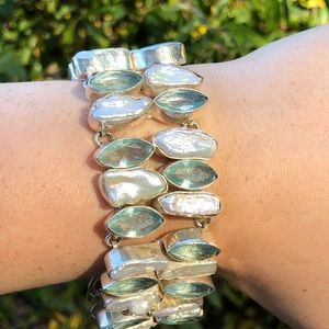 Aqua Marine and Biwa Fresh Water Pearls Bracelet